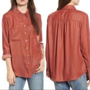 Thread & Supply M Rust Velvet Blouse